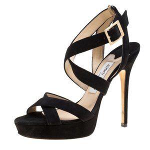 Jimmy Choo Black Suede Vamp Platform Sandals Pumps